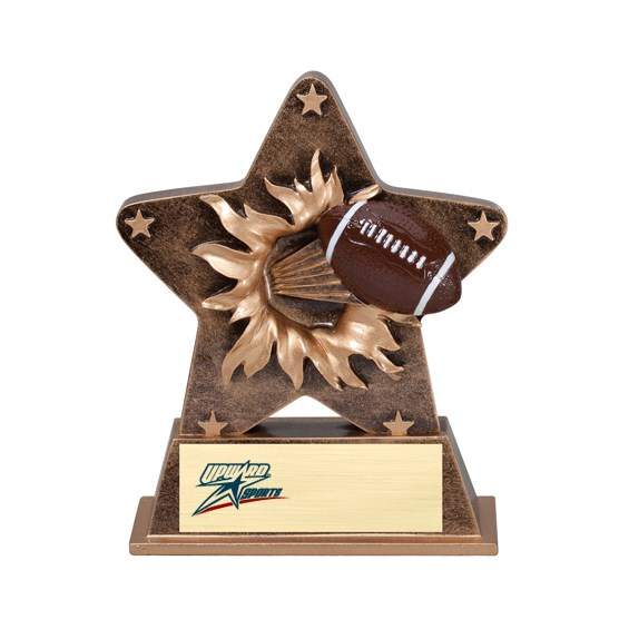 "5-1/4"" Starburst Resin Football Trophy"