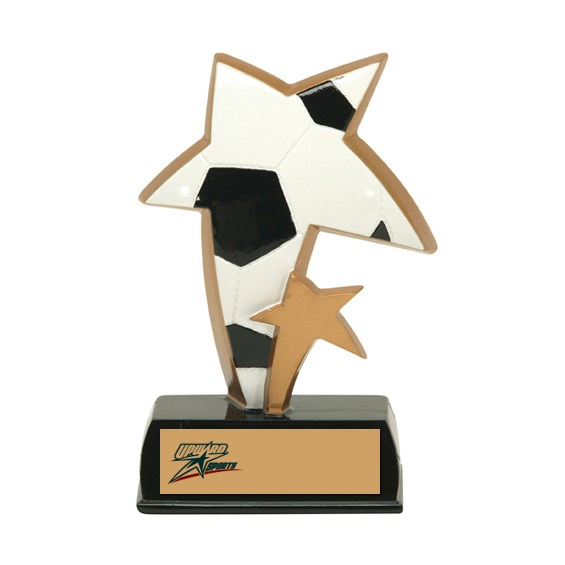 "6"" Color Resin Sports Star Soccer Trophy"