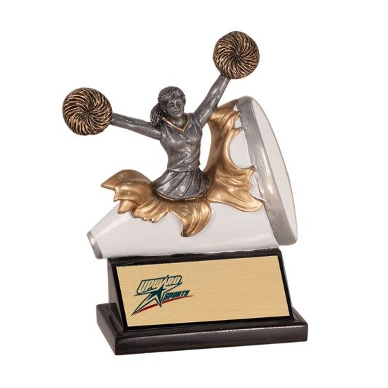 "5 1/4"" Xploding Resin Cheerleading Trophy"