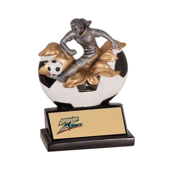 "5-1/4"" Xploding Female Resin Soccer Trophy"