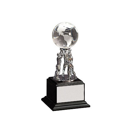 "10"" Crystal Globe on Silver Metal Stand"