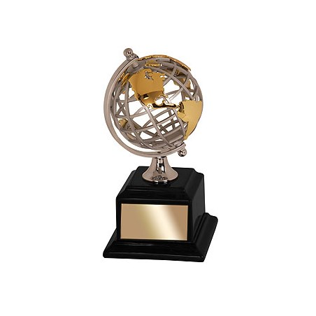 8-3/4 in Metal Globe Award