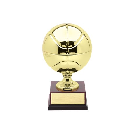 "15"" Plated Brass Basketball Trophy"