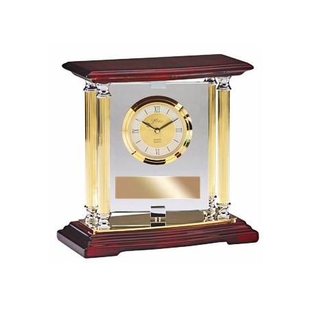 Rosewood & Brass Clock w/ Pivoting Glass