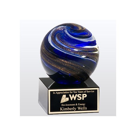 "3.5"" X 5"" Art Glass Globe Award"