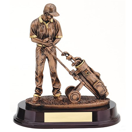 "9"" Bronze Golfer & Trolley Resin"