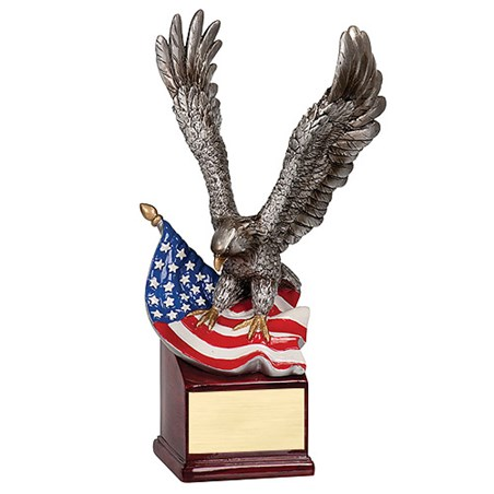 "10"" Hand Painted Eagle w/ Flag"