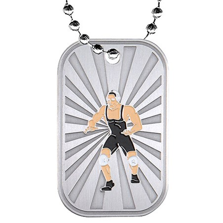 2 in Wrestling Dog Tag w/ Chain