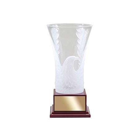 """12"""" Crystal Etched Eagle Vase Award"""