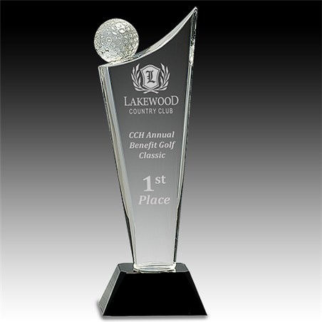 "10-3/4"" Clear Crystal Golf Award"
