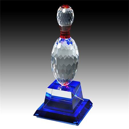 10 in Crystal Bowling Pin Award w/ Blue Base
