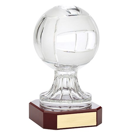"10.5"" Crystal Volleyball w/ Rosewood Base Award"