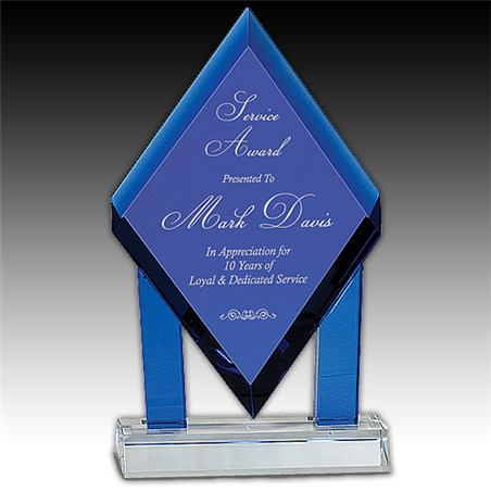 8-3/4 in Blue Crystal Floating Diamond Award