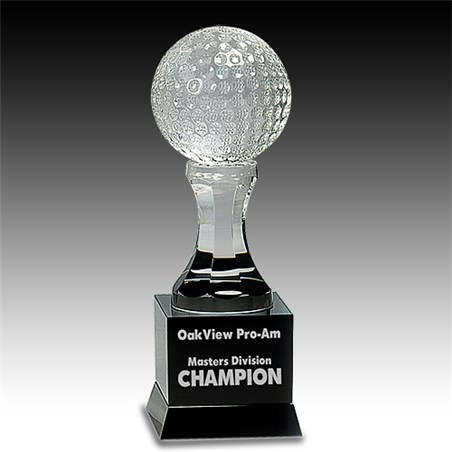 9 in Crystal Golf Ball w/ Black Pedestal Base