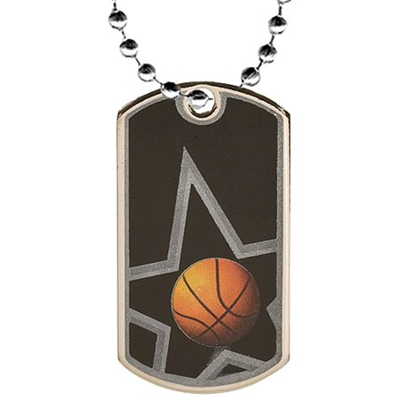 "2"" Basketball Dog Tag w/ 24"" Chain"