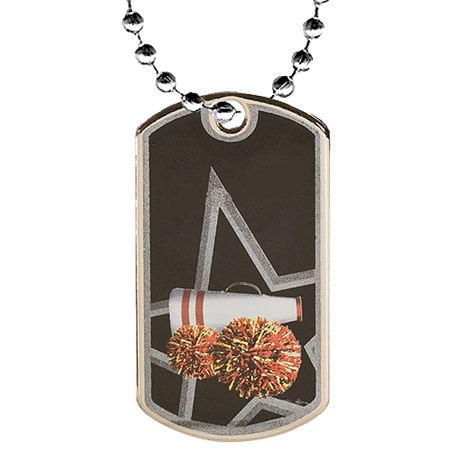 "2"" Cheerleader Dog Tag w/ 24"" Chain"