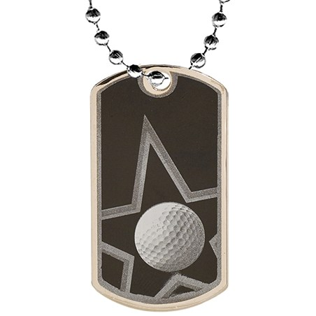 2 in Golf Dog Tag w/ 24 in Chain