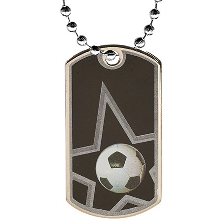 "2"" Soccer Dog Tag w/ 24"" Chain"