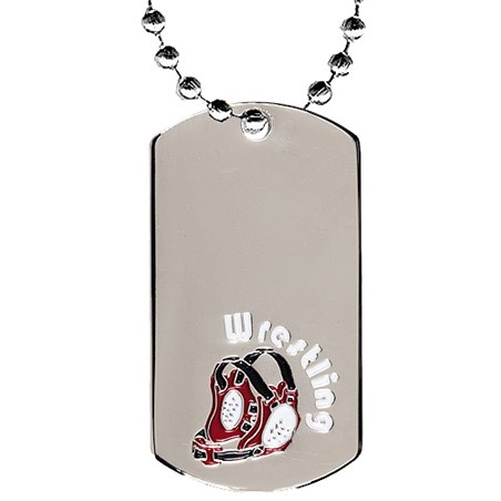 "2"" Chrome Wrestling Dog Tag w/ 24"" Chain"