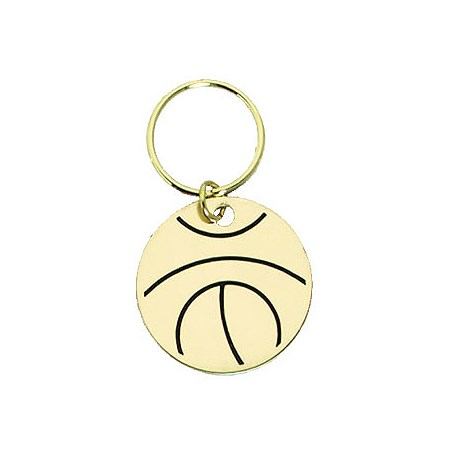 "1.5"" Polished Brass Keychain - Basketball"