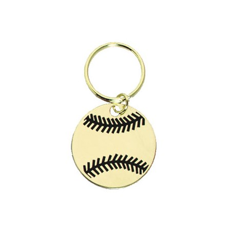"1.75"" Polished Brass Keychain - Baseball"