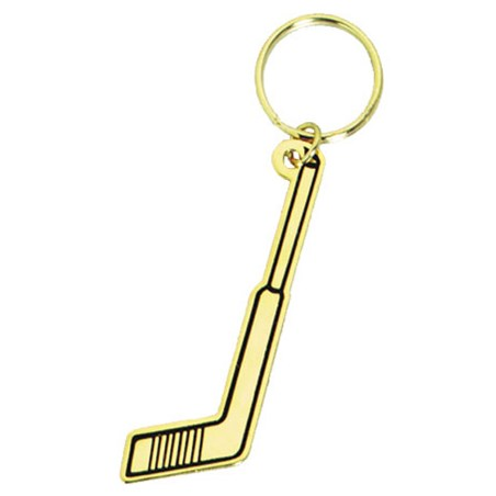 "2.75"" Polished Brass Hockey Keychain"