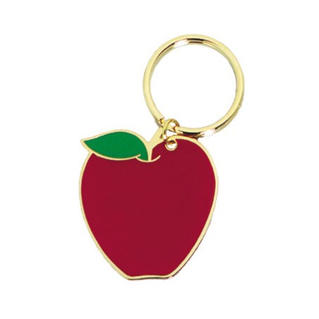 "1.75"" Full Color Brass Keychain - Apple"