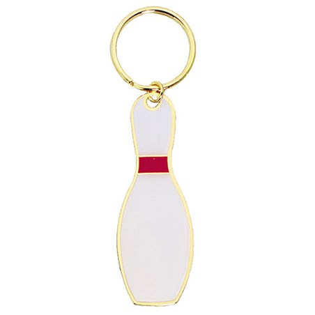 "3"" Full Color Brass Keychain - Bowling"