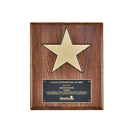 "12"" x 15"" Star Plaque w/ Walnut Piano Finish Board"