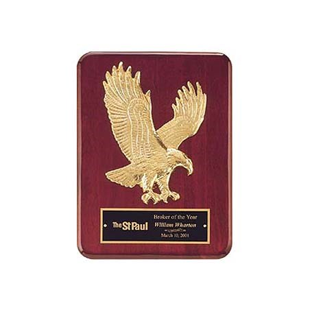 "9"" x 12"" Rosewood Finish Gold Eagle Casting Plaque"