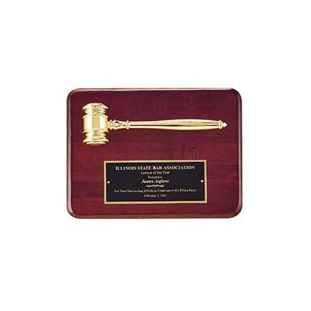 "9"" x 12"" Rosewood Finish Gavel Plaque"