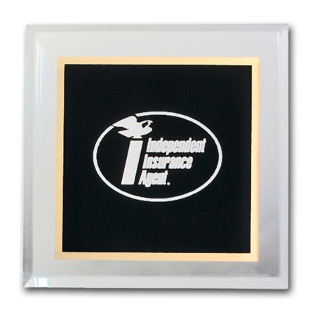 "3-3/4"" x 3-3/4"" Acrylic Paperweight - Black"