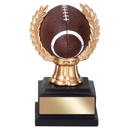 "6"" Football Trophy with wreath"