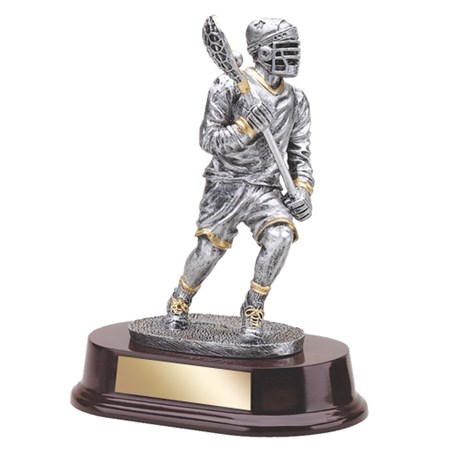 7 1/2 in Lacrosse Trophy with Wood Base
