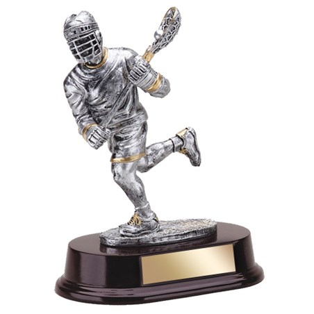 7 1/2 in Resin Lacrosse Trophy with Wood Base