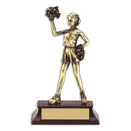 6 1/2 in Cheerleading Statue Trophy with a Metal Finish