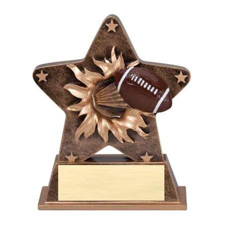 "5 1/4"" Starburst Resin Football Trophy"