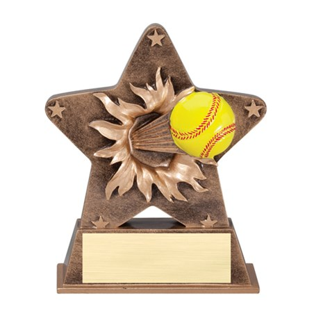"5 1/4"" Starburst Resin Softball Trophy"