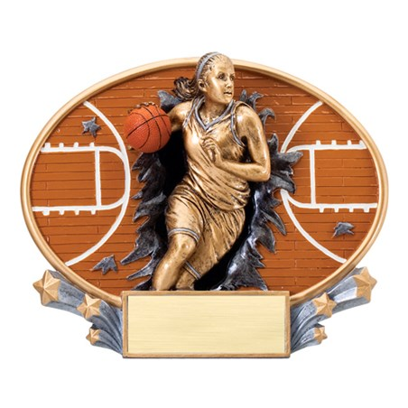 "7 1/4"" x 6"" Xplosion Oval Female Basketball Resin Trophy"