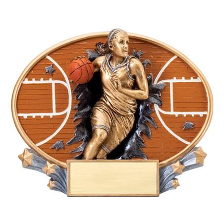 7 1/4 in x 6 in Xplosion Oval Female Basketball Resin Trophy