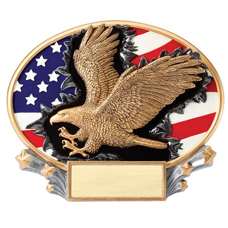 "7.25"" x 6"" 3D Xplosion Eagle Oval Resin Trophy"