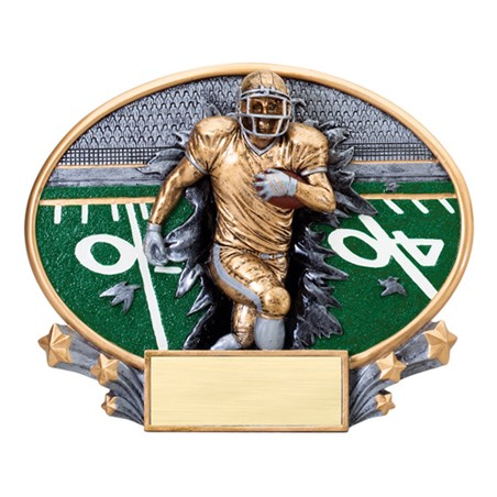 "7 1/4"" x 6"" Xplosion Oval Football Resin Trophy"