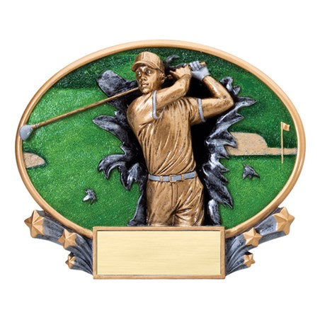 "7 1/4"" x 6"" Xplosion Oval Male Golf Resin Trophy"