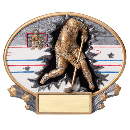 "7.25"" x 6"" 3D Xplosion Hockey Oval Resin Trophy"