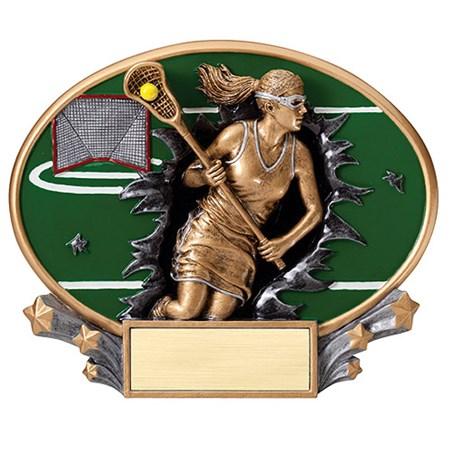 7.25 in x 6 in 3D Xplosion Female Lacrosse Oval Resin Trophy
