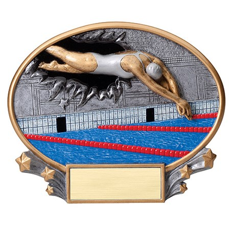 "7.25"" x 6"" 3D Xplosion Female Swimming Oval Resin Trophy"