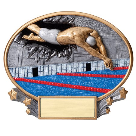 7.25 in x 6 in 3D Xplosion Male Swimming Oval Resin Trophy