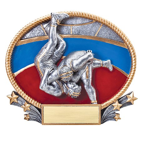 3D Resin Oval Wrestling Trophy