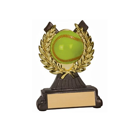 "4-1/2"" Softball Resin/Plastic Gold Wreath Trophy"