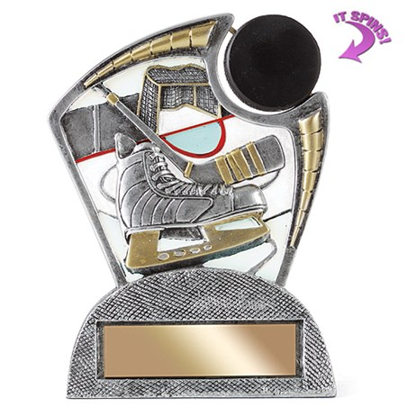 "6"" Hockey Resin Trophy w/ Spinning Sports Ball"